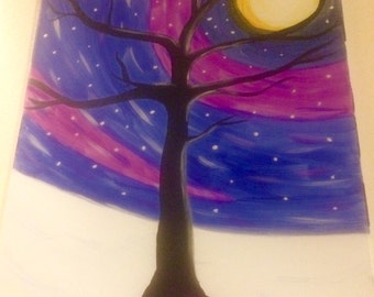 Starry Night Van Gogh Tree acrylic painting *Sample for commissions, original not for sale*