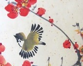 Old  Art  Print,  Flowers and Birds..Vintage Art Print, traditional Asian painting