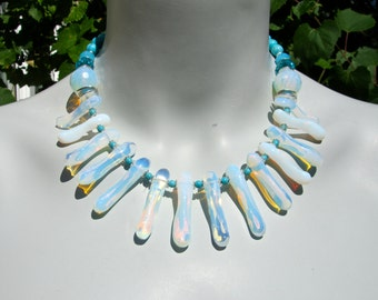 Opalite Statement Necklace, Big Bold Chunky Necklace, Opalite Necklace, Turquoise, Crystal, Spike Necklace, Collar Necklace  971