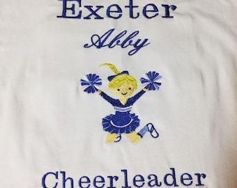 Customized cheerleading shirt with school name