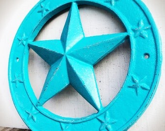 BOLD large western star wall plaque // shabby chic aqua turquoise blue // Texas star // rustic cowboy country wall art // home decor