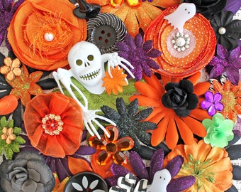 Halloween Night*Flowers by the Bunch*Flower Inspiration Kit*Halloween Scrapbook Embellishments