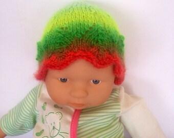 Hippie rainbow multi Ooak unique designer baby girls hand knit,crocheted beanie cap,newborn to 3 months,flower photo prop green fairy.