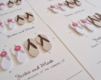 Personalised Beach Flip Flops Wedding Invitation Sample