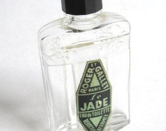 Deco 1920s Vintage ROGER et GALLET Le Jade Paris France Eau de Toilette NOUVEAU Mini Glass Perfume Bottle Galilith Cap Downton Gatsby Rare