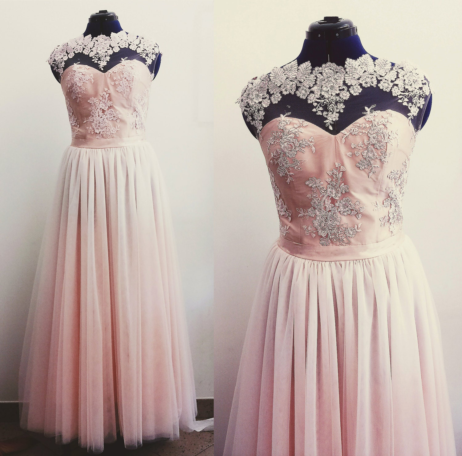 SALE tulle WEDDING DRESS pink white black lace bodice