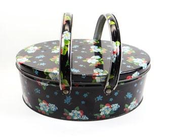 Vintage Floral Sewing Basket Tin With Handles - Vintage Home Decor
