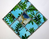 Wall hanging SUMMER Bird, Seagull, Room Decoration, Green Blue Nature, Handmade Photocollage, Wall Hangings