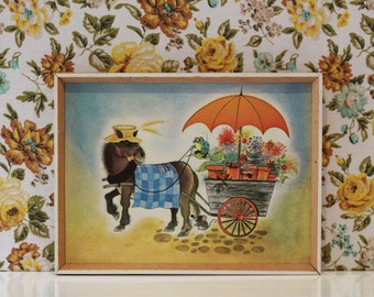 Vintage Retro 1960s Mid Century George Buckett Print Kitsch Donkey Horse Cute