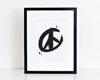 Peace Sign Print- Screenprint- Black or Metallic Gold