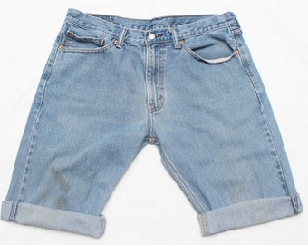 "90's Vintage ""LEVI'S"" Reconstructed Light Blue Cutoff Jean Shorts Sz: 35 (Men's Exclusive)"