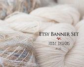 Etsy Banners - Yarn - Etsy Banner Set - Balls of Yarn - Etsy Cover Photo - Wool Yarn - White Yarn