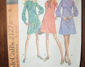 Vintage Mid Century 1960's McCall's Pattern 2127 Dress Size 12  Bust 34 Brand New Uncut