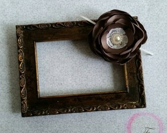 Chocolate brown satin flower headband