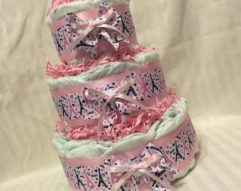 Adorable Handmade Diaper Cake - Baby Girl - Paris Theme - Pink Black Eiffel Tower Hearts Love