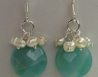 Faceted amazonite and white freshwater pearl cluster earrings