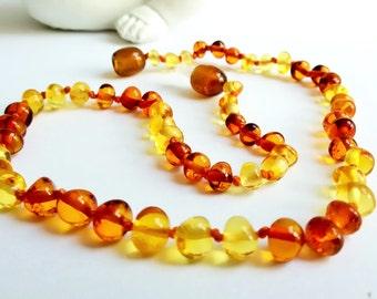 Amber Teething Necklace, Cognac and Lemon Amber, Baltic Amber