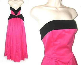 Victor Costa Strapless Formal Ball Gown - Hot Pink & Black - Vintage 1980s/80s Satin and Velvet - 6