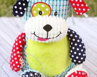 Adorable Embroidered Patchwork Puppy Cubbie - Personalized Dog Stuffie - Puppy Stuffed Animal- Dog Plush - Puppy Stuffy