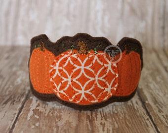Pumpkin Trio Headband, Fall Pumpkin Headband, Girls Fall Headband, Thanksgiving Pumpkin Slider Headband, Brown and Orange Pumpkin Headband