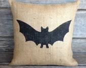 Bat Pillow, Burlap Bat PillowBurlap Pillow,Burlap pillow with bat,Halloween Pillow, Front Porch Pillow