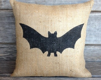 Halloween Pillow pillow cover ONLY, bat pillow,burlap pillow, Halloween pillow,Halloween decoration, burlap pillow, fall pillow,front porch