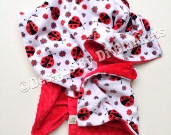 Minky Baby Blanket,Lady Bug Blanket, Kids Minky Blanket,Red Grey Blanket, Baby Girl Minky  Blanket, Crib Blanket 36 X 45 in