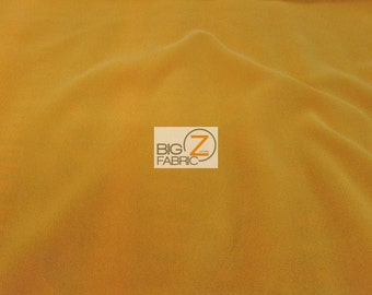 "Solid Triple Velvet Nylon Fabric - GOLD - 44"" Width Drapery Evening Gown Fashion"