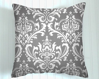 Sale  50 % Off Decorative Throw Pillow Cover Various Sizes  Grey Damask  Beach Decor Accent Pillows