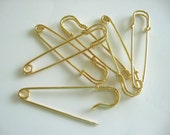 Gold Kilt Pins (6) Large No loops Safety Pin Brooches Gold Plated Stitch Holder Beadable Wholesale Jewelry Supplies Supply Crazycoolstuff