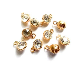 6 Gold Drop Charms With Clear Rhinestones - 30-12-5