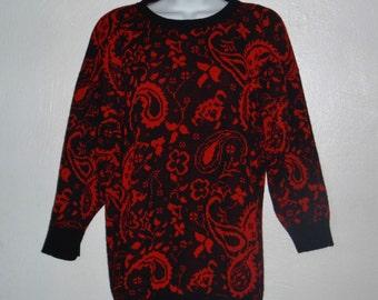 Vintage 80's/ 90's red & black sweater