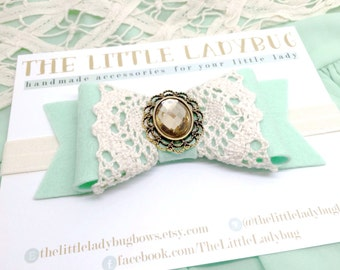 M2M Made to Match Well Dressed Wolf Mint 6 Minute Sale Felt Bow with Cluny Lace and Rhinestone Accents, Headband or Clip