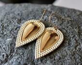 White Gold Pear Drop Earrings, Solid Brass Dangle, White Dangles, Off WhiteTeardrops, 14K gold filled