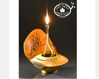 Handmade Wooden Oil Lamp,unique home decor,natural inspired,Romantic gift