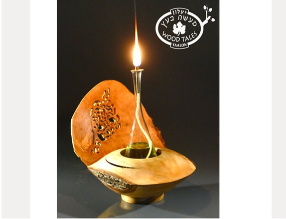 COOPERATION  Handmade Wooden Oil Lamp,unique home decor,natural inspired,Romantic gift