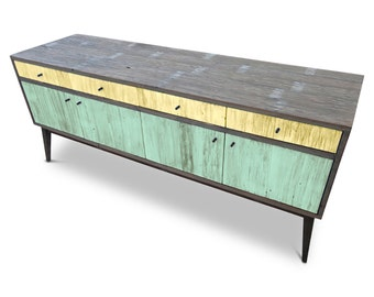 Modern Mid Century Retro Scandinavian Yellow & Teal Green Sideboard / Buffet / Entertainment Unit - Solid Timber, Recycled Wood