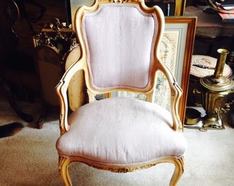 Antique French Louis XV style open armchair