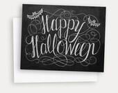 Happy Halloween Card - Halloween Chalkboard Art - Halloween Greeting Card - Black and White Halloween - Chic Halloween