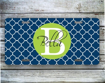 Personalized Monogram Car License Tag - Navy Lattice with Lime Custom Monogram, Car Tag, Quatrefoil, Lattice, Front License Plate