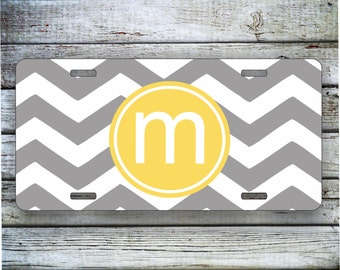 Monogrammed Gift License Plate, Car Tag - Gray Chevron with Monogram, Custom Car Tag, Chevron Monogram, Front License Plate