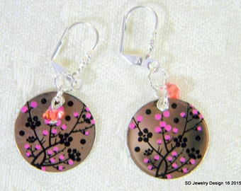 Cherry Blossom Stainless Steel Dangle Earrings with Swarovski Crystal Bicone