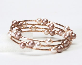 Rose Gold Floating Pearl Memory Wire Bracelet with Swarovski Creamrose and Almond Crystal Pearls and Rose Gold Plated Beads