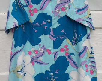 vintage housedress- Lorraine bright floral lounge dress