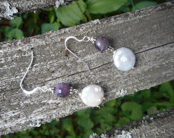 HUGE DISCOUNT- beautiful amethyst and coin pearl earrings