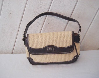 reserved Vintage Etienne Aigner straw handbag, bags and purses, straw leather purse, small bagleather and straw summer bag