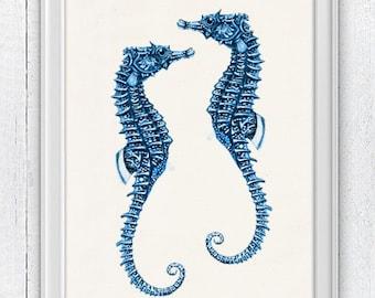 Blue sea horses couple-Sealife  Wall decor poster- bathroom wall decoration- A4 art print SPA054