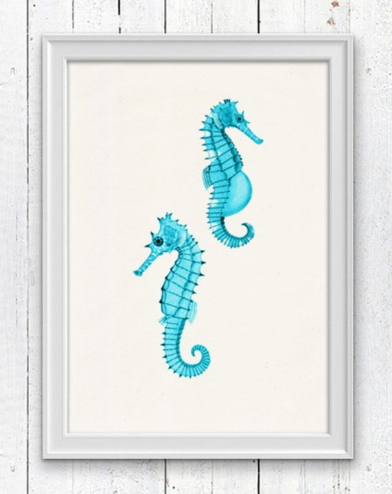 Seafoam seahorses Mr and Mrs Seahorse  - Bathroom Wall decor poster  , bathroom wall decoration SPA053