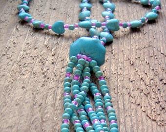Tassel Heart Necklace Beaded Bohemian Jewelry,Boho Jewelry