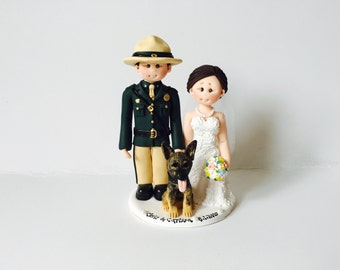 US Army Groom & Bride along with pet dog wedding cake topper- Custom made bride and groom 25th 40th 50th wedding anniversary cake topper